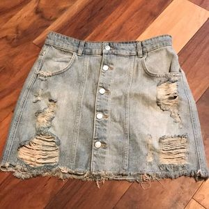 FREE PEOPLE DESTROYED SKIRT